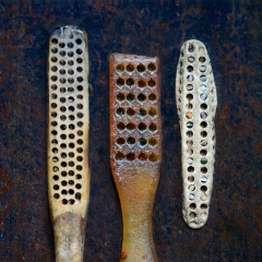 Toothbrushes: bone & vintage plastic
